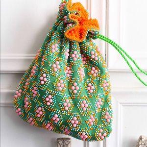 Reversible Drawstring Bucket Bag w/ Colorful Beads